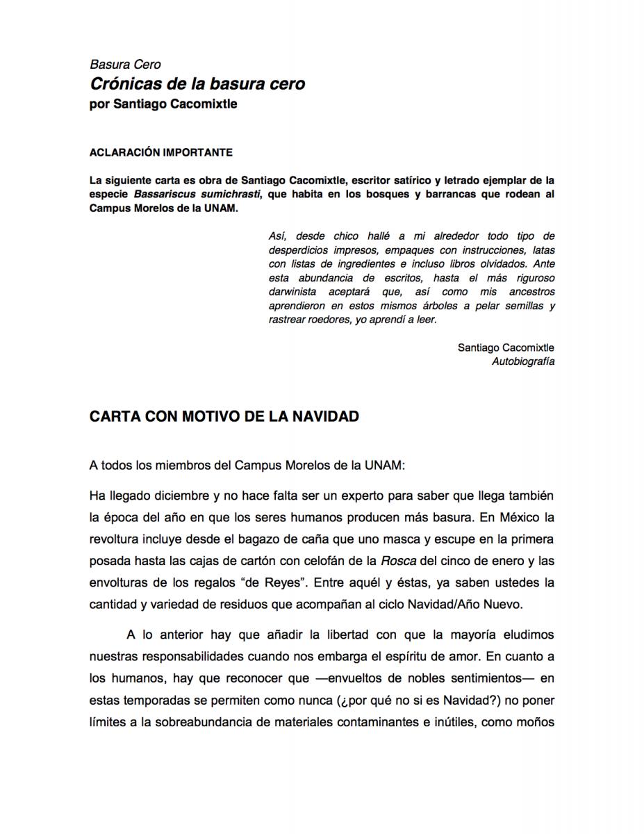 XX Carta con motivo de la Navidad | Basura Cero UNAM Campus Morelos