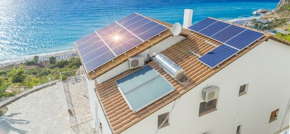 solar palels, photovoltaic, roof, sea  house